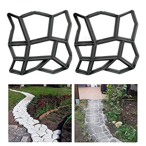 Zueyen 2 stampi per pavimentazione a 9 camere, per vialetti, fai da te, in cemento, per giardino, per pavimentazione e pavimentazione, 43 x 43 x 4 cm