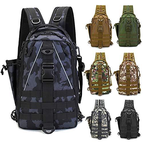 LUXHMOX Fishing Gear-Tackle-Bag Waterproof Storage Lightweight Sling Backpack (New Black Camo)