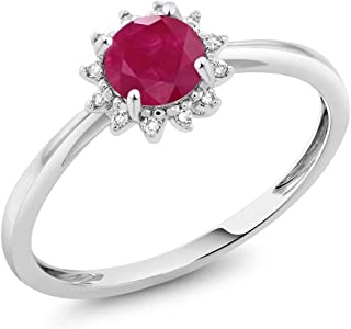 Gem Stone King 10K White Gold Red Ruby and Diamond Women's Engagement Ring 0.55 Cttw Available in (Available 5,6,7,8,9)