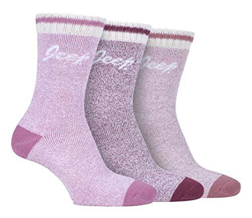 JEEP - 3 Pares Mujer Calcetines con Rayas   Calcetines para Deporte Trekking Senderismo Montaña (37-42, Rose/el sacador/Crema)