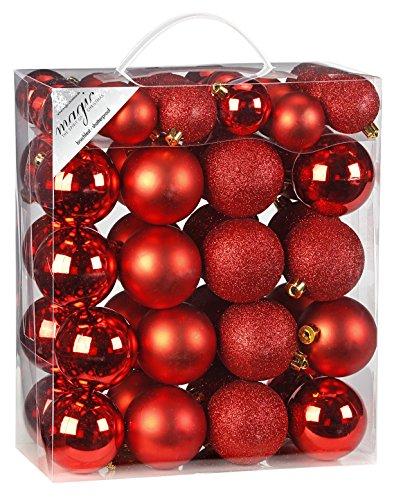 Inge-glas 770203–Scatola di Palline in plastica, 50pz, 18x 4e 32x 6cm, Colore: Rosso