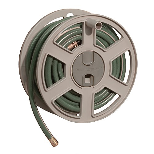 Suncast Sidetracker Garden Hose 100 ft Wall Mounted Tracker with Removable Reel Fully Assembled, Taupe