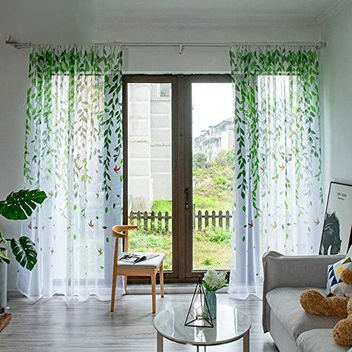 PENVEAT Moderne Tüll-Vorhänge für Wohnzimmer, Schlafzimmer, Vogel-Druck, Voile-Vorhänge für Fenster, Tüll, Vorhänge, Grün, 100 x 250 cm, 1 Stück