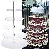 Lalia XL Torten Etagere durchsichtig groß 6 stöckig 35-10cm Umfang stabiles Plexiglas für Cupcakes Torten Hochzeitstorte Perfekt Party, Taufe Geburtstag oder zur Hochzeit Tortenständer Tortenetagere - 5