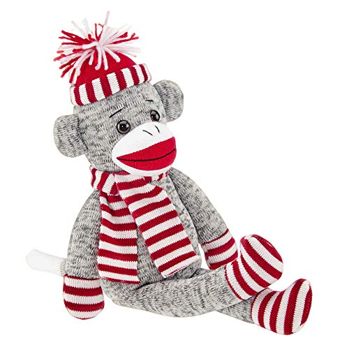 Bearington Socks Knit Holiday Sock Monkey Stuffed Animal, 16 inches