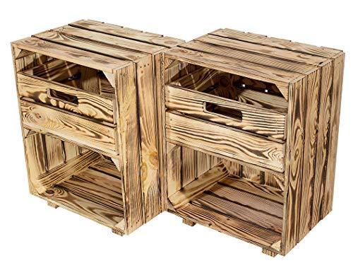 Kontorei® Neuer geflammter/gebrannter Nachttisch mit Schublade 30,5cm x 40cm x 54cm 2er Set Nachtschrank Tisch Kiste