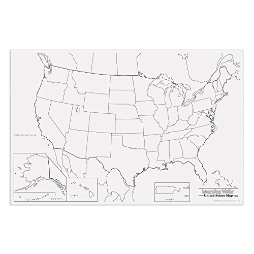 """Pacon PAC78760 United States Giant Map, 48"""" Width, 72"""" Length, Black/White"""