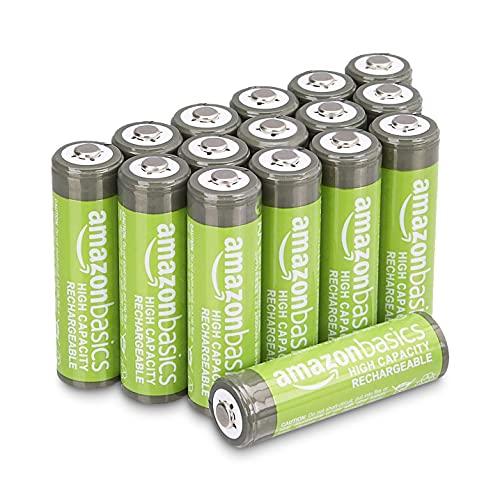 Amazon Basics - Batterie AA ricaricabili, ad alta capacità, 2400 mAh (confezione da 16), pre-caricate