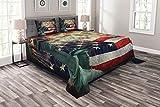 ABAKUHAUS Amerikanische Flagge Tagesdecke Set, Feuerwerke Juli 4, Set mit Kissenbezügen Romantischer Stil, für Doppelbetten 264 x 220 cm, Mehrfarbig