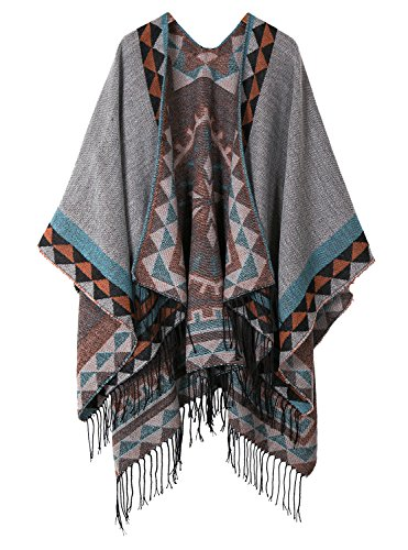 Urban CoCo Women's Printed Tassel Open front Poncho Cape Cardigan Wrap Shawl (Series 5-Grey)