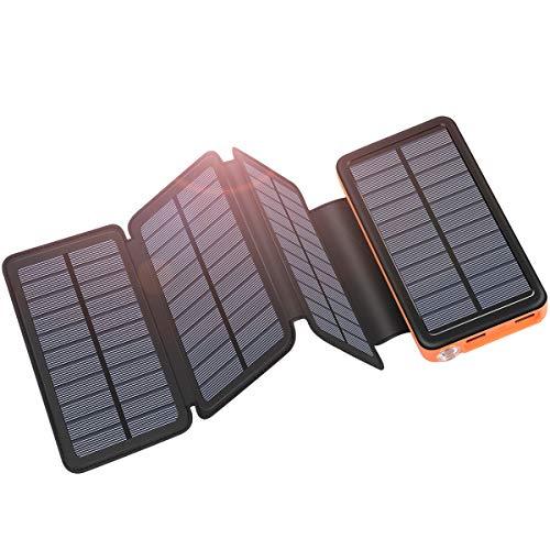 ADDTOP Solar Powerbank Tragbare Solar Ladegerät 25000mAh mit USB C Eingang Externer Akku mit 4 Solarpanels für iPhone, Samsung, Android Und Tablet, Kamera usw