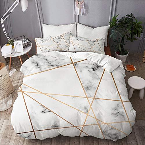 ELIENONO Bettwäsche-Set,Vektor Marmor Textur Design golden geometrisch,Dekoratives 3-teiliges Bettwäscheset mit 2 Kissenbezügen,Einzelgröße(135 x 200cm)