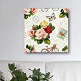 N / A Flower Bicycle Vintage Canvas Painting with Art Pictures and Solid Pine Bar Used For Home Decoration Frameless 20x20cm