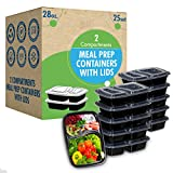 [25 Set]-28oz 2 Compartment Prep Containers with Lids Ideal-Lunch Containers, Food Prep Containers,...