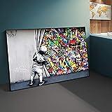 Street Art Banksy Graffiti Wall Art Detrás de la cortina Pinturas en lienzo Pintura al óleo Cuadros artísticos de pared para decoración del hogar 60x120cm (23'x47') Sin marco
