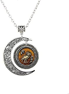 Athena's Owl Pendant,Athena's Owl Necklace,Athena's Owl Moon Jewelry,moon Necklace Glass Art Picture