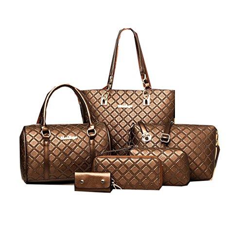 Di Grazia Women's 6 in 1 Combo Of Tote, Satchel Handbag, Sling bag, Clutch, Wallet & Key Pouch (Coffee Brown, darkbrown-6in1-combo-handbag)