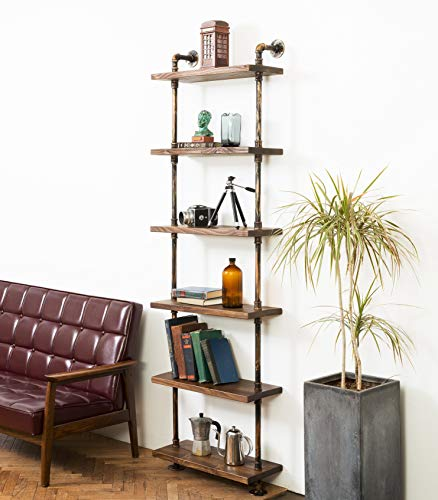 DEOKOR Pipe and Wood Shelves – Industrial Floating Wall Shelves – Wood Pipe Bookshelves – Plumping Pipe and Handmade Fir Wood Shelves – Iron Pipes with Boards in Color Special Walnut