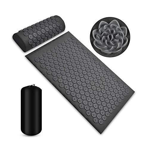Juego de colchoneta de acupresión y almohada de masaje – Colchón de acupuntura para alivio del dolor de cabeza y cuello con bolsa de transporte, para hombres y mujeres