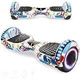 Magic Vida Skateboard Elettrico 6.5 Pollici Bluetooth con Due Barre LED Monopattini elettrici autobilanciati di buona qualità per Bambini e Adulti(Graffiti Bianco)