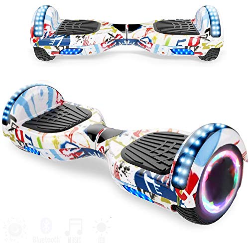 Magic Vida Skateboard Elettrico 6.5 Pollici Bluetooth con Due Barre LED Monopattini elettrici autobilanciati di buona qualità per Bambini e Adulti(Bianca)