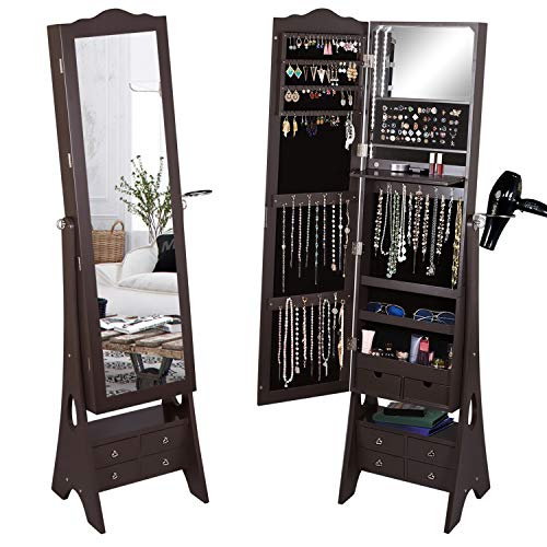 Fridaydiscount Standing Jewelry Organizer Armoire with LED Lights Full Length Mirror Jewelry Cabinet Large Capacity 3 Beveled Angles and 6 Drawers Hair-Dryer Rack Brown