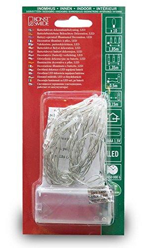 Konstsmide 1407–553Catena luminosa LED/per interni (IP20)/certificato VDE/A Batteria: 2x AA 1,5V (non incluse) /con interruttore e timer da 6ore/10diodi rossi/cavo trasparente