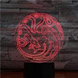 Game of Throne Iron Dragon 3D Lámpara Illusion Night Light Bombilla LED USB RGB Multicolor Home Lampara niños