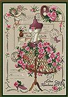 クロスステッチキット DIY 手作り刺繍キット 家庭刺繍装飾品 11CT 正確な図柄印刷クロスステッチ 中程度の格子 刺しゅうキット フレームがない — ローズのウェディングドレス 16x20inch