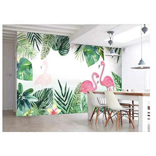 Lovemq Foto Tapete Wandbild Nordischen Kleinen Frischen Tropischen Regenwald Bananenblatt Flamingo Hintergrund Wand 3D Tapete Tapeta-350X230Cm