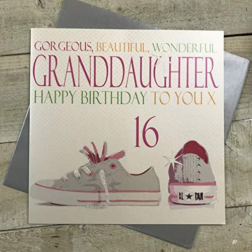 witte katoenen kaarten Prachtig, Mooi, Prachtig, Grootdochter Gelukkig 16, Handgemaakte Grote 16e Verjaardagskaart (Code XN92-GD16)