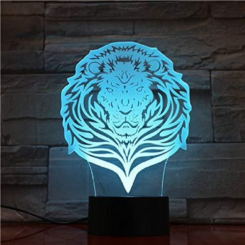 Orangeww Lámpara de ilusión visual 3d / 7 colores cambiantes Toque la luz nocturna/Decoración del dormitorio del bebé/Decoración del hogar/León