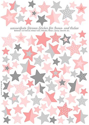 Jabalou Sterne Fahrraudaufkleber Fahrradsticker für Kinder Sticker Aufkleber (Rosa-Grau)