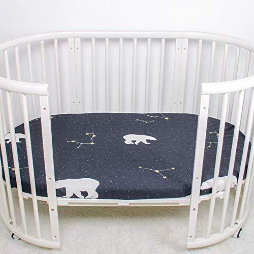 Sábana para cuna infantil 70 * 130 cm Sábana ajustable para cama de bebé de algodón suave No se afloja cuando el bebé rueda en la cama, Hecho de algodón(Star bear)