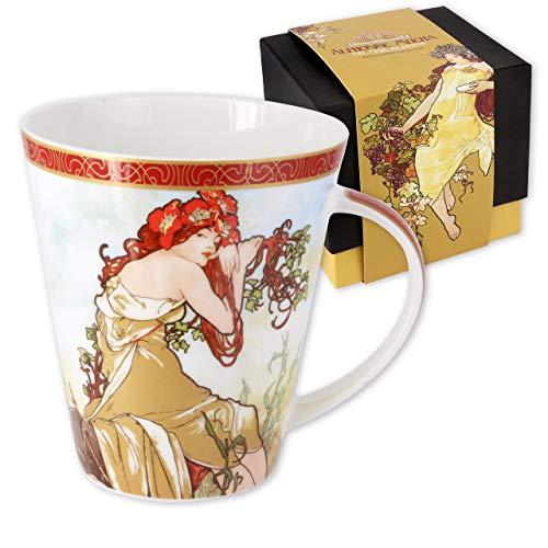 Carmani - Grande tazza in porcellana decorata con 'Estate' di Alfons Mucha 450ml