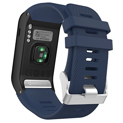 MoKo Sport Armband für vívoactive HR - Silikon Ersatz-Uhrenarmband Uhrenarmband Einstellbar Armband Replacement Wechselarmband Watch Band, Mitternachtsblau