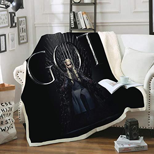 POMJK Manta y plaids de Juego de Tronos, manta de forro polar, manta mullida, impresión 3D, para oficina, siesta, sofá, camping, viajes (15,100 x 140 cm)