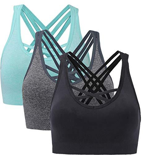 ANGOOL Damen Sport BH ohne Bügel Gepolstert Yoga Bra Kreuz Rücken Sport Bustier für Jogging Fitness