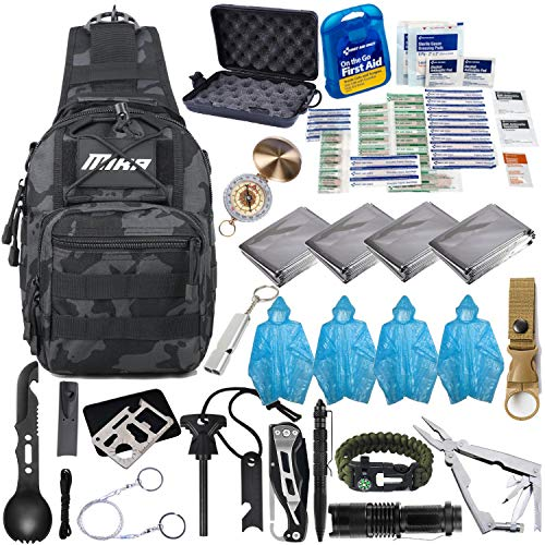 MIKA Premium Survival Gear and Equipment Shoulder Bag, 51 in 1 Emergency Survival Kit, First Aid Kit, Professional Tactical Gear for Survival up to 4 People (Black/Grey Camouflage)
