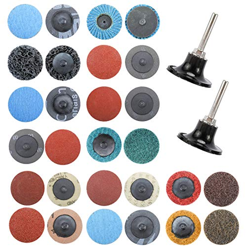 Tysun 101 Pcs Sanding Discs, 2 Inch Quick Change Discs with 1/4 inch Holder, Surface Conditioning Discs for Die Grinder Surface Strip Grind Polish Burr Finish Rust Paint Removal