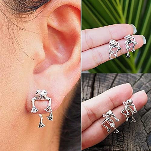MFAWF 2 Pairs Two Way Frog Earrings- Frog Lover Jewelry, Vintage Silver Detachable Earrings Stud, Very creative Auricle Wrap Earring, for girls