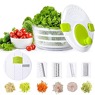 Smile mom Plastic Kitchen Multifunctional Large Salad Spinner Salad Tosser Vegetable Salad Maker & Mandoline Slicer Set with 2 Lids- FDA Approved, 4.2 Quart, D650-A, Green-White