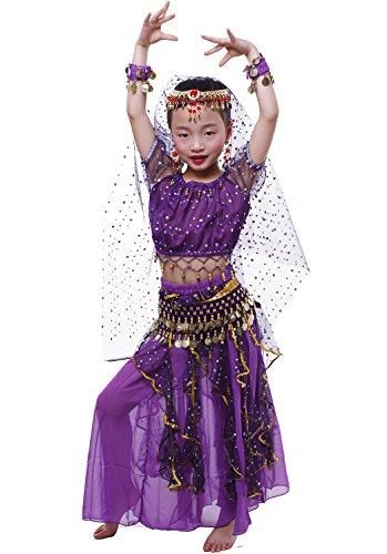 Astage Bauchtanz Mädchen Kleid Purple S