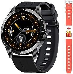 Blackview X1 Smartwatch Herren, Smart Armbanduhr Herren Fitness Tracker Smart Watch Rund 5ATM Wasserdicht Fitnessuhr Herren mit Pulsuhr Schrittzähler Damen Wearable Sportuhr iOS Android Kompatibel