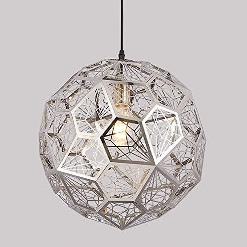 NBPLUS Moderne eenvoud Grid Design RVS diamant kogel-hangende lampen, geometrische bol kroonluchter E27 plafondlampen