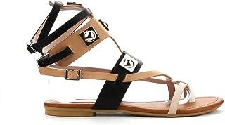 Cape Robbin Womens Open Toe Strappy Ankle Cuff Colorblock Hardware Gladiator Flat Sandals