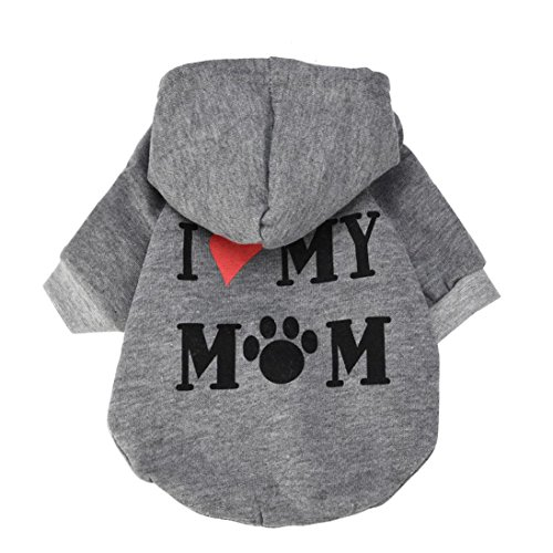 Howstar Pet Clothes, Puppy Hoodie Sweater Dog Coat Warm Sweatshirt Love My Mom Printed Shirt (L, Gray)