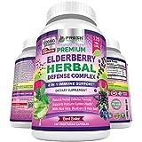 Premium Elderberry Capsules 1200mg Complex - 4 in 1 Immune Support Supplement with Aloe Vera, Blueberry & Holy Basil - Non GMO Plant Based, Gluten Free - 120 Vegan Capsule Pills for Men & Women