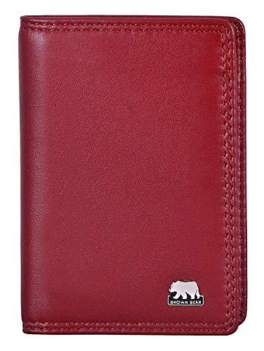 Brown Bear Notizblock-Etui Leder Rot Mini-Schreibmäppchen für Damen und Herren mit RFID Schutz für Bankkarten & Ausweise inklusive A8 Blöckchen