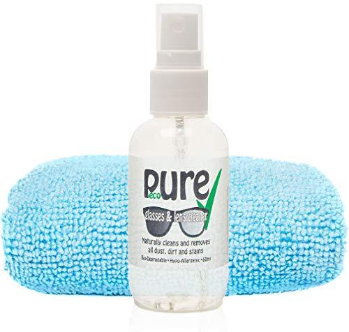 Kit di pulizia per occhiali e lenti, con ingredienti ecologici, biodegradabili e ipoallergenici Rimuove naturalmente tutta la polvere, il grasso, i segni e le macchie senza danneggiare il rivestimento.